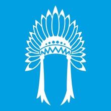 Indian Headdress Icon White Is...