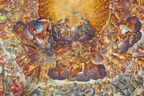 Valokuva PARMA, ITALY - APRIL 16, 2018: Fresco of Holy Trinity and saints in the glory in cupola of Chiesa di Santa Maria del Quartiere by P