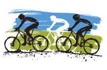 Mountain Bike Competition. Grunge Stylized Illustration Of Mountain Bike Race. Isolated On White Background. Vector Available.