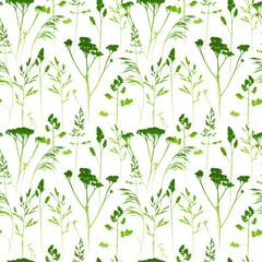 Fototapeta Minimalistyczny Seamless pattern with herbal silhouettes