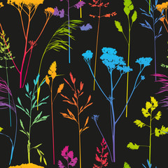 Panel Szklany Skandynawski Seamless pattern with herbal silhouettes on dark background
