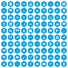 100 Landmarks Icons Set In Blu...