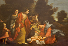 PARMA, ITALY - APRIL 17, 2018: The Painting Moses Rescued From The Nile In Church Chiesa Di Santo Tomaso By Unkonwn Artist.