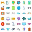 Film icons set. Cartoon style of 36 film vector icons for web isolated on white background