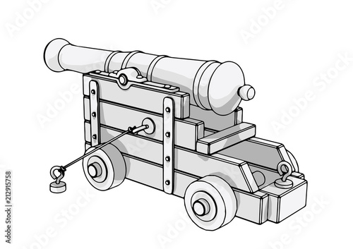sketch of an old cannon vector Wallpaper Mural