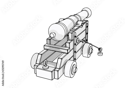 Photo sketch of an old cannon vector