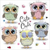 Fototapeta Fototapety na ścianę do pokoju dziecięcego - Set of  cartoon owls on a white background