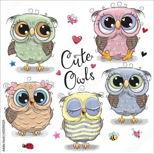 Photo Stands Owls cartoon Set of cartoon owls on a white background