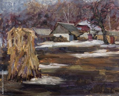 In de dag Diepbruine landscape, oil painting, hand made