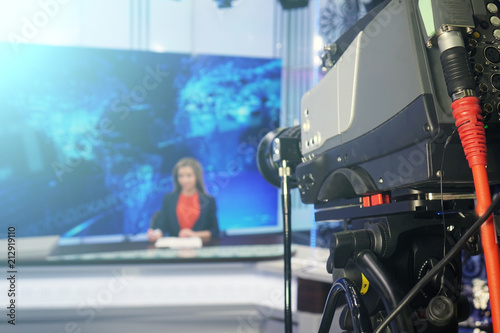 Leading reads the text on the teleprompter Canvas Print
