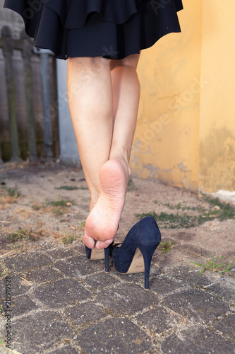 walking and relax her bare feet