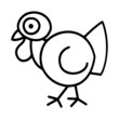 Cute turkey cartoon illustration isolated on white background for children color book