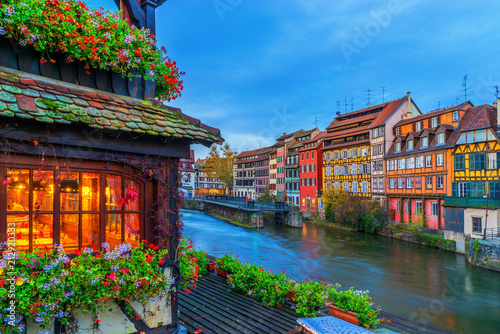Strasbourg Alsace France. Traditional half timbered houses