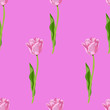 canvas print picture - seamless small floral tulips pattern background