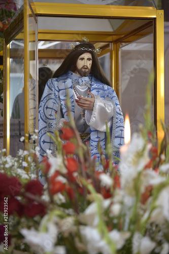 Christ inside a glass box Figure of Jesus being kept for devotion Wallpaper Mural