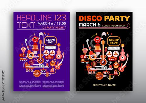 Foto auf Leinwand Abstractie Art Nightclub Disco Party