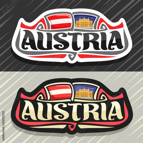 Vector logo for Austria country, fridge magnet with austrian state