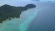 Aerial shot of Koh Kradan in Thailand. Flying over the reef.
