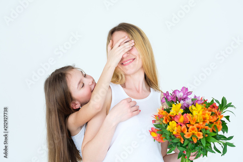Surprise Flower Gift On Moms Birthday Loving Daughter Present Happy Occasion Colorful Bouguet