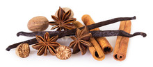 Assorted Spices On White Background