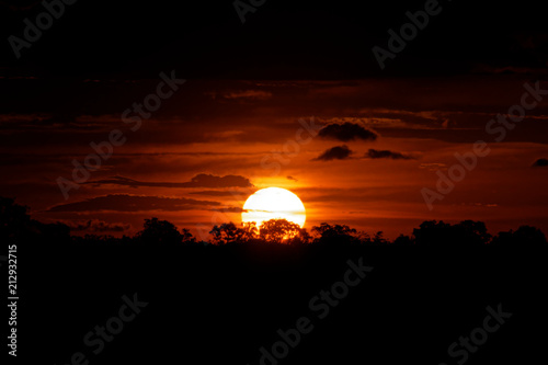Foto op Plexiglas Bruin Red sky at sunset in Brazil