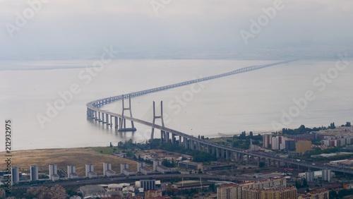 Foto op Canvas Luchtfoto Vue aérienne du Pont.Vasco de Gama, Lisbonne, Portugal