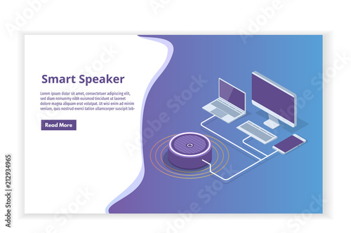 smart assistant speaker voice control isometric concept vector