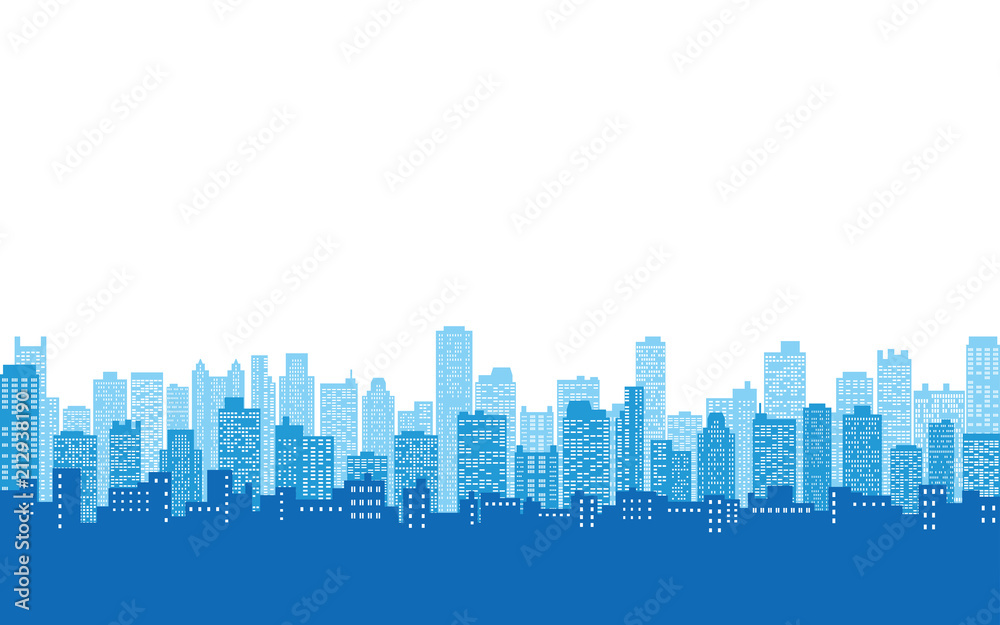 Fototapeta blue color of silhouette city skyline, Cityscape in white color sky background
