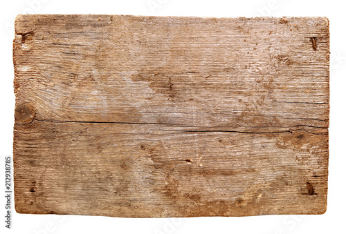 Poster Metal old wooden boards isolated on white background. close up of an empty wooden sign
