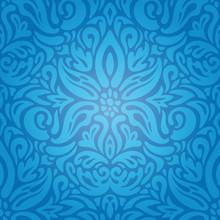 King Blue Floral Vintage Wallp...