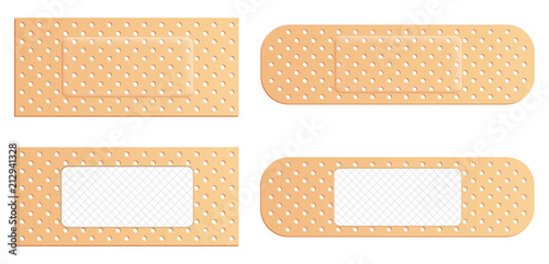 Photo Creative vector illustration of adhesive bandage elastic medical plasters set isolated on transparent background