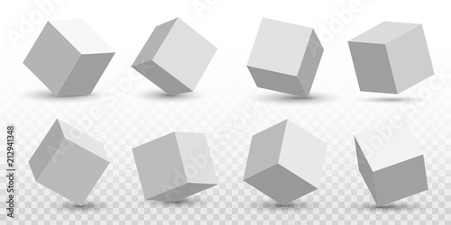 Creative vector illustration of perspective projections 3d cube model icons set with a shadow isolated on transparent background Poster Mural XXL