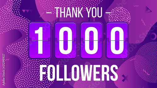 Fotografie, Obraz  Creative vector illustration of 1000 followers subscribers, thank you card banner isolated on transparent background