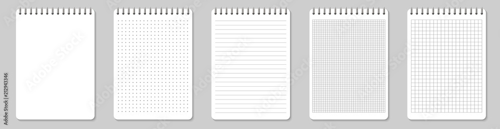 Fototapety, obrazy: Creative vector illustration of realistic notebooks lined and dots paper page isolated on transparent background. Art design clean spiral notepad blank mockup template. Abstract graphic element