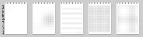 Fototapeta Creative vector illustration of realistic notebooks lined and dots paper page isolated on transparent background. Art design clean spiral notepad blank mockup template. Abstract graphic element obraz