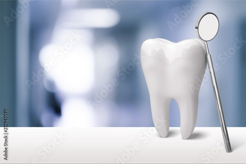 obraz PCV Tooth and dentist mirror