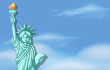 Statue Of Liberty With Sky Bac...