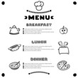 Hand drawn menu for cafe with breakfast, lunch, dinner inscriptions. Template design.