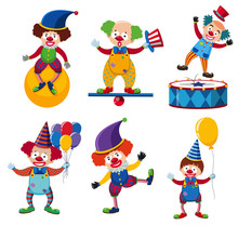 A Set Of Clown Circus Character