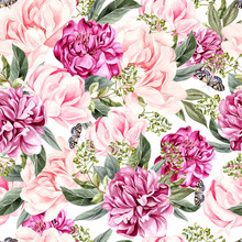 Watercolor Pattern With Peony Flowers And  Butterfly.