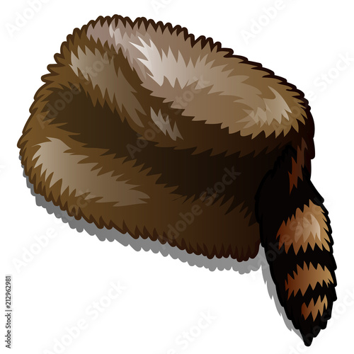 Fotografía  Fur winter hat with tail isolated on white background