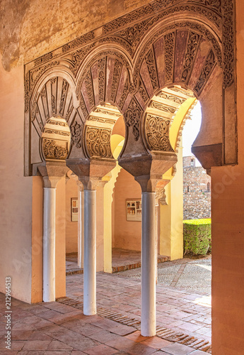 Deurstickers Oude gebouw Arches in the Alcazaba of Malaga, Spain