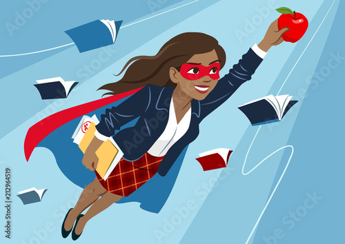 Fotografie, Obraz Young woman in cape and mask flying through air in superhero pose, looking confident and happy, holding an apple and folder with papers, open books around