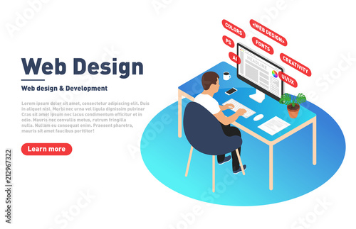 Web Design And Development Concept Web Designer Is Working On Computer Designer Programmer And Modern Workplace In Isometric Projection Landing Page Template Buy This Stock Vector And Explore Similar Vectors At