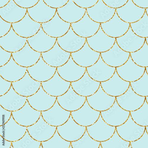 Mermaid or fish gold glitter scales seamless pattern Wallpaper Mural