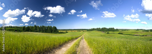 Foto op Plexiglas Weide, Moeras Summer panorama landscape with country road in the field of green grass lit with sunshine and beautiful clouds