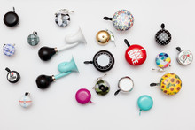 Set Of Different Bicycle Bells On White Background