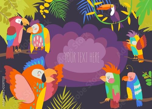 Rama kreskówka tropikalny raj z papugami