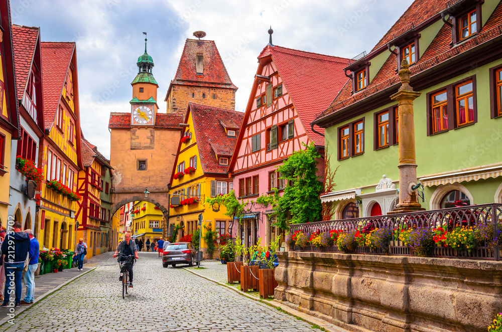 Fototapeta Beautiful streets in Rothenburg ob der Tauber with traditional German houses, Bavaria, Germany