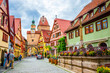 Leinwanddruck Bild - Beautiful streets in Rothenburg ob der Tauber with traditional German houses, Bavaria, Germany